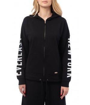 Logo Side Band  Light Sweatshirt Hoodie - Black