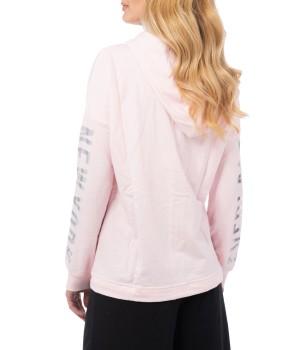 Logo Side Band  Light Sweatshirt Hoodie - Rose