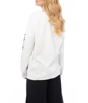 Oversized Logo Printed Sleeves Sweatshirt  - Off White
