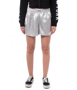 Logo Band Satin Shorts - Silver