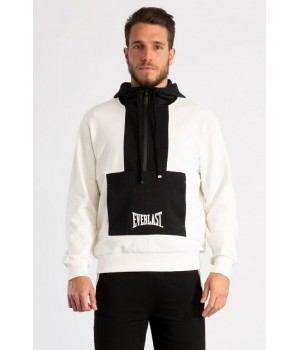 TWO-TONE DESIGN  COTTON HALF ZIP HOODIE