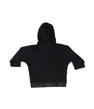 Cropped Sleeves Sweatshirt Hoodie Zip - Black