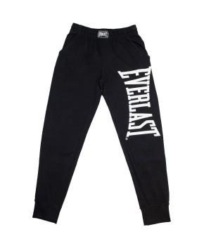 EV Style Printed Logo Cotton Jersey Sweatpants - Black