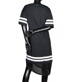 Asymmetrical Printed Cotton Sweatshirt Dress - Black