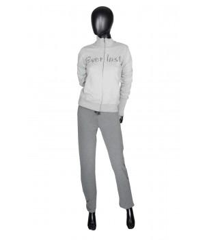 Printed Logo Sweatshirt Hoodie Zip & Sweatpants - Grey/Mel
