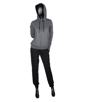 Embroidered Logo Sweatshirt Hoodie Zip & Sweatpants - Black