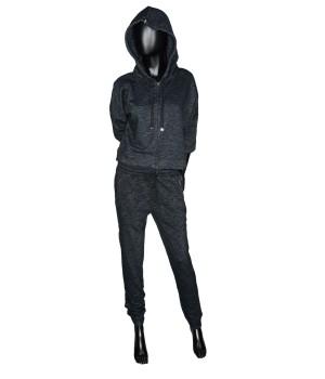 Set Cropped Sweatshirt Hoodie Zip & Sweatpants - Black