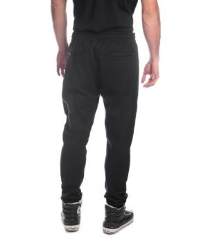 Logo tag  waistband  Cotton Sweatpants  - Black