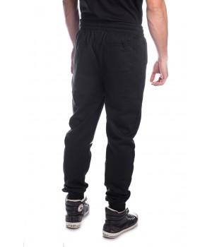 Printed EV Style  Logo Cotton Jersey Sweatpants  - Black