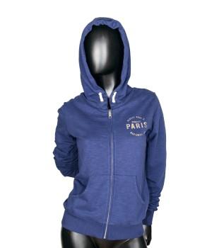 Paris Zip Up Jersey Hoodie Sweatshirt - Blu Zaffiro