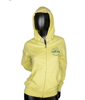 Tokyo Zip Up Jersey Sweatshirt Hoodie - Yellow