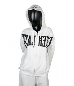 Riverse Logo Printed Jersey Sweatshirt Hoodie Zip Up - White