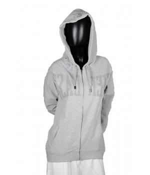 Riverse Logo Printed Jersey Sweatshirt Hoodie Zip Up - Grey
