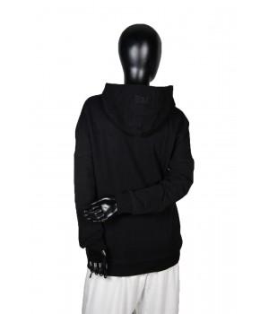Logo Printed  Jersey  Sweatshirt Hoodie - Black