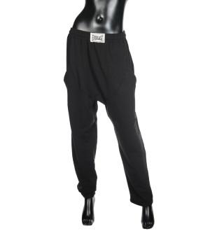 Low Crotch  Loose Jersey Sweatpants - Black