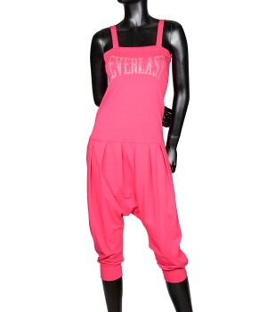 Overalls Cropped Sweatpants - Hot Pink