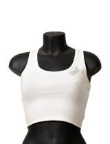 Logo Side Cotton Jersey Blend Crop Top - White