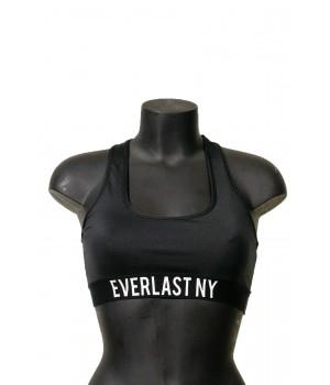 Printed Elastic Bra Top Fit Logo Detail - Black